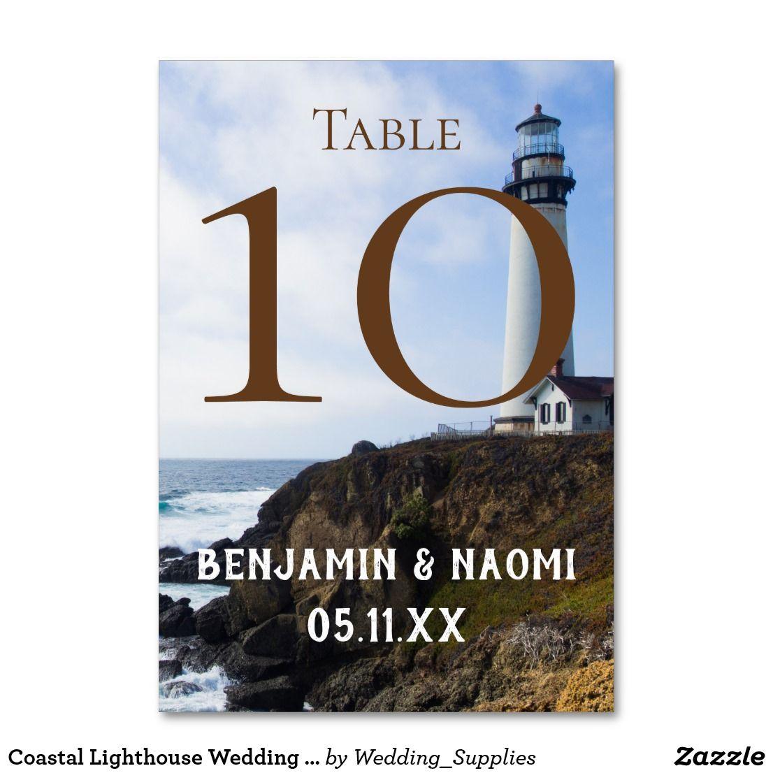 Customizable coastal lighthouse wedding table number cards