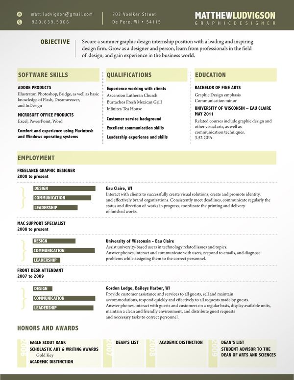 Resume Design This Example Uses A Unique Yet Functional