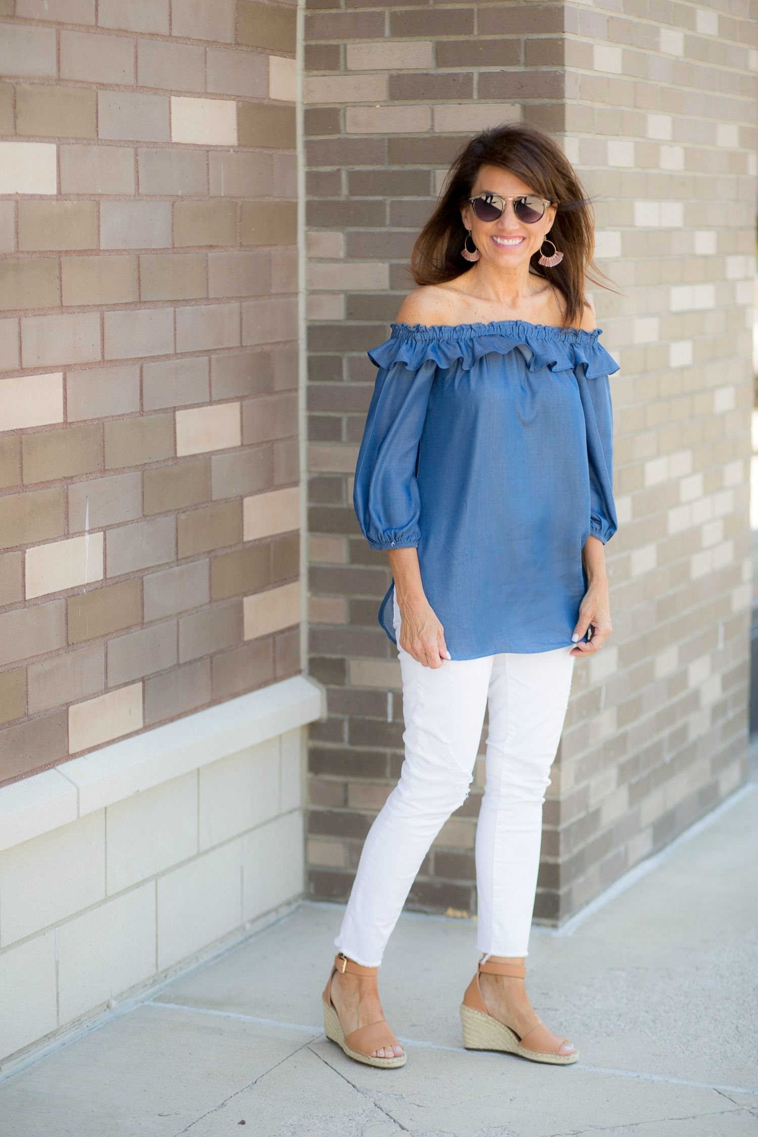 0f7d7ef305 Chambray Off The Shoulder Top + White Jeans