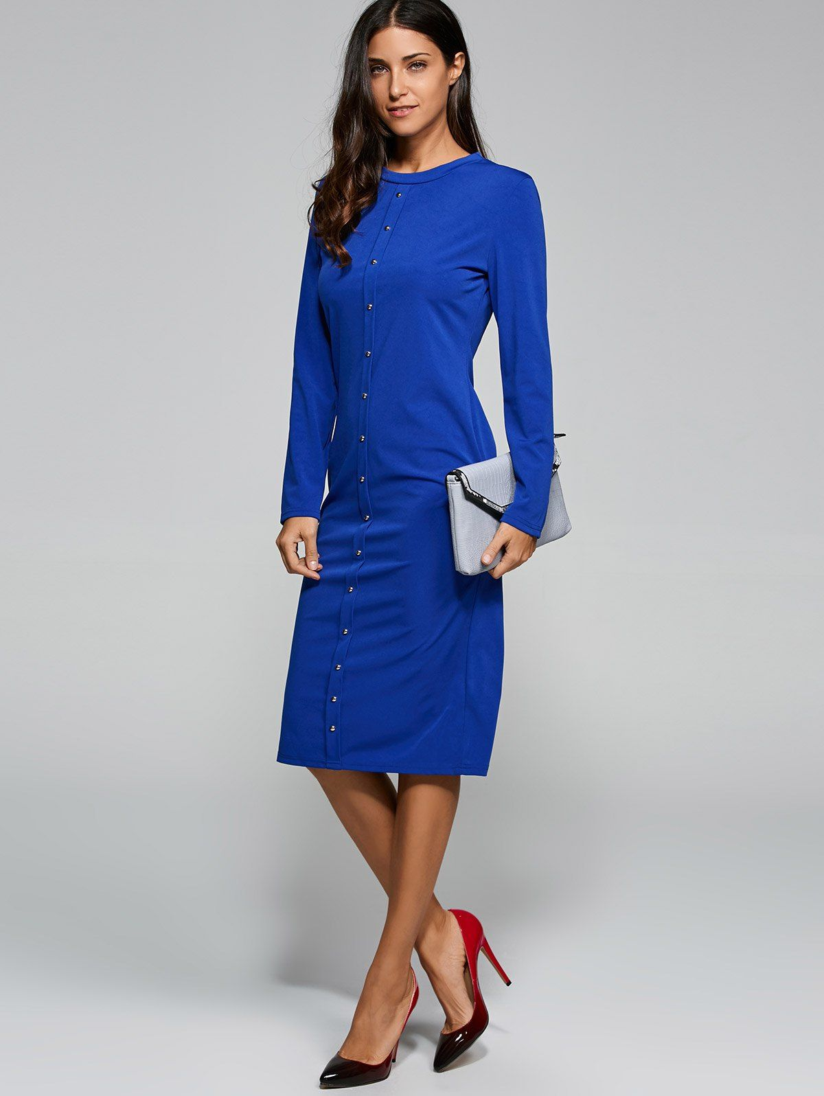 Button up long sleeve knit midi dress women men hats watches