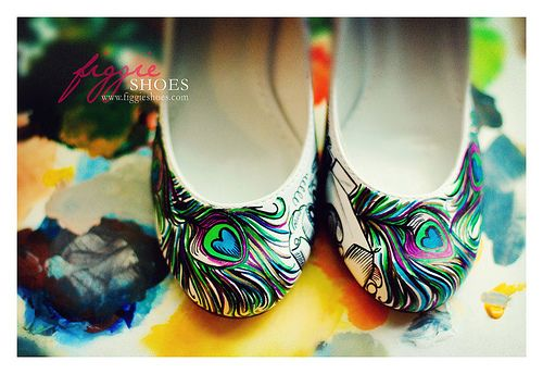 Figgie Shoes - gorgeous hand-painted shoes with your names, wedding date, etc. This is cute!