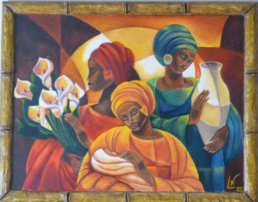 cuadro pintado al óleo con marco artesanal en papel maché BY LISY ...