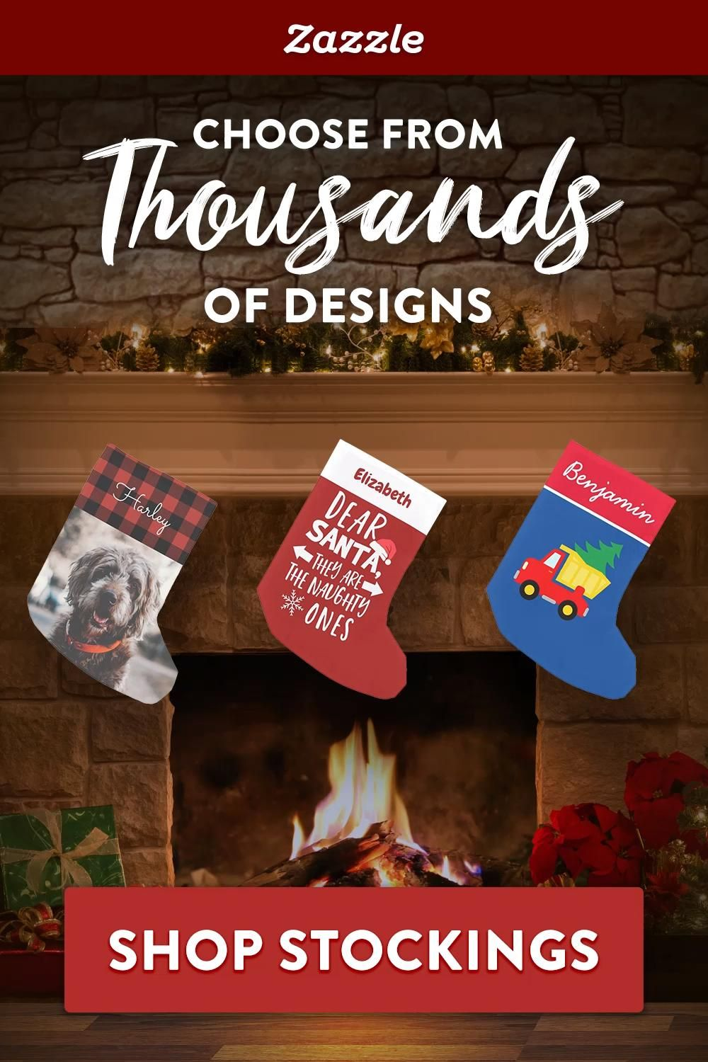 Get in the holiday spirit with custom stockings. Choose from thousands of designs for kids, adults, and pets. Shop Zazzle for all your holiday needs including holiday cards, ornaments, home decor, gifts and more.