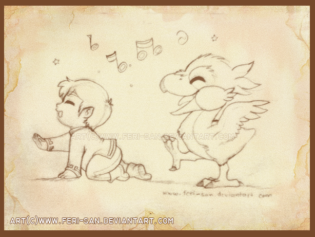 Baby Link and his fledgling Loftwing by Feri-San (SO CUTE!!! i love her art!!)
