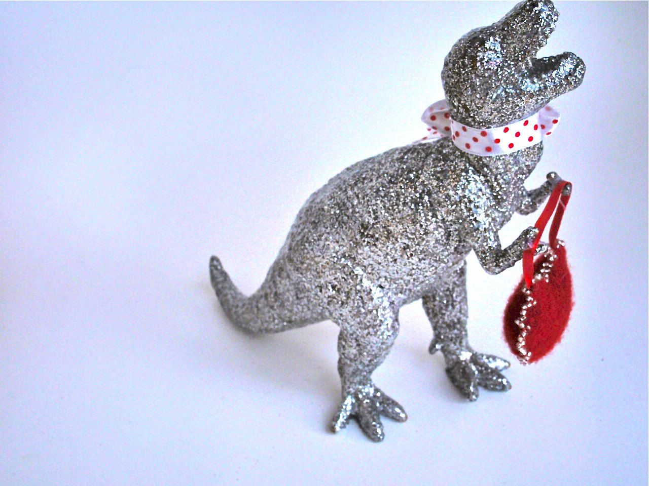 T Rex Silver Glitter Valentine With Wool Felted And Hand Beaded Heart. $12.00, via Etsy.