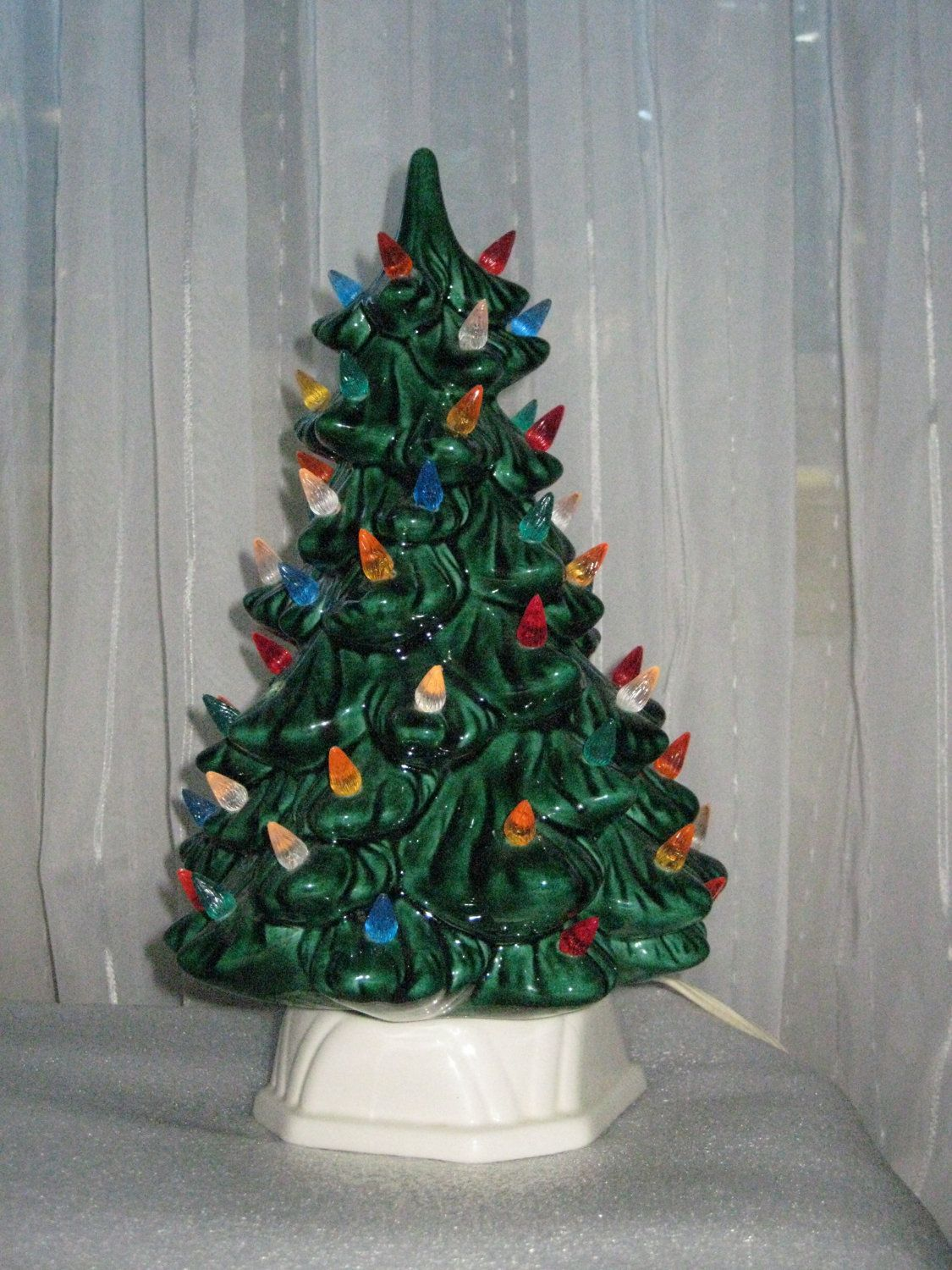 Vintage Ceramic Christmas Tree with Light up Candle Base Small ...