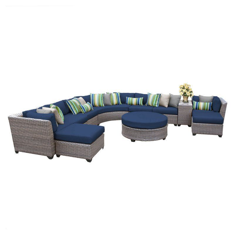 TK Classics Florence Wicker 11 Piece Patio Conversation Set with Ottoman and 2 Sets of Cushion Covers