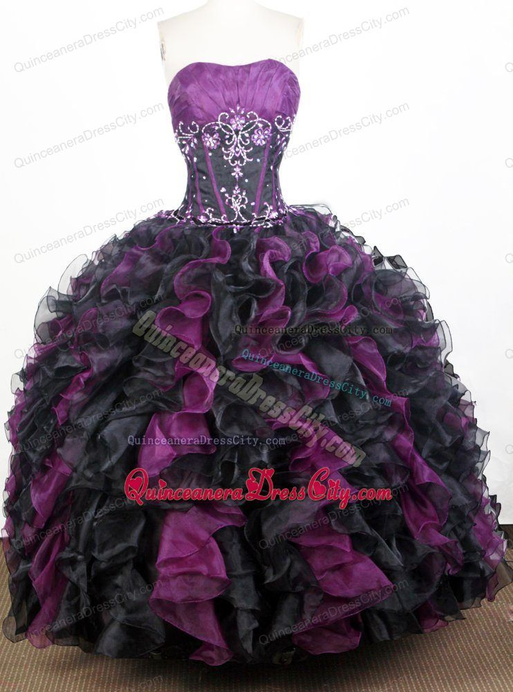 914181fd499 Appliques Purple and Black Ruched Sweet 16 Quinceanera Dresses ...