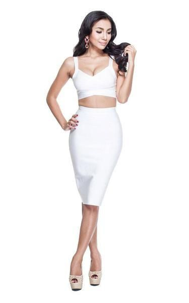 High Waisted Two Piece White Bandage Dress #shortbacklessdress