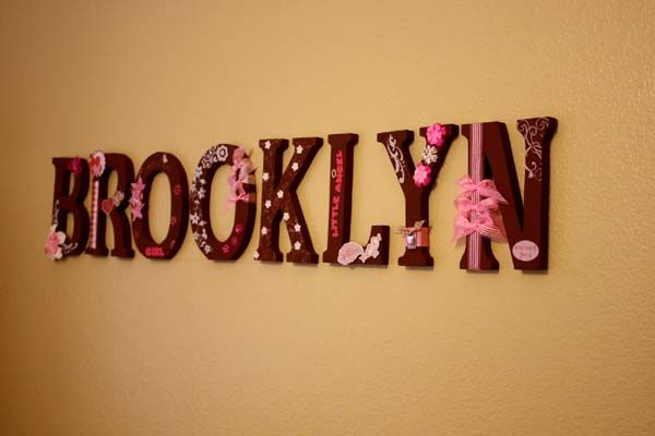 cute ideas for making wooden letters for baby room with pink brooklyn http