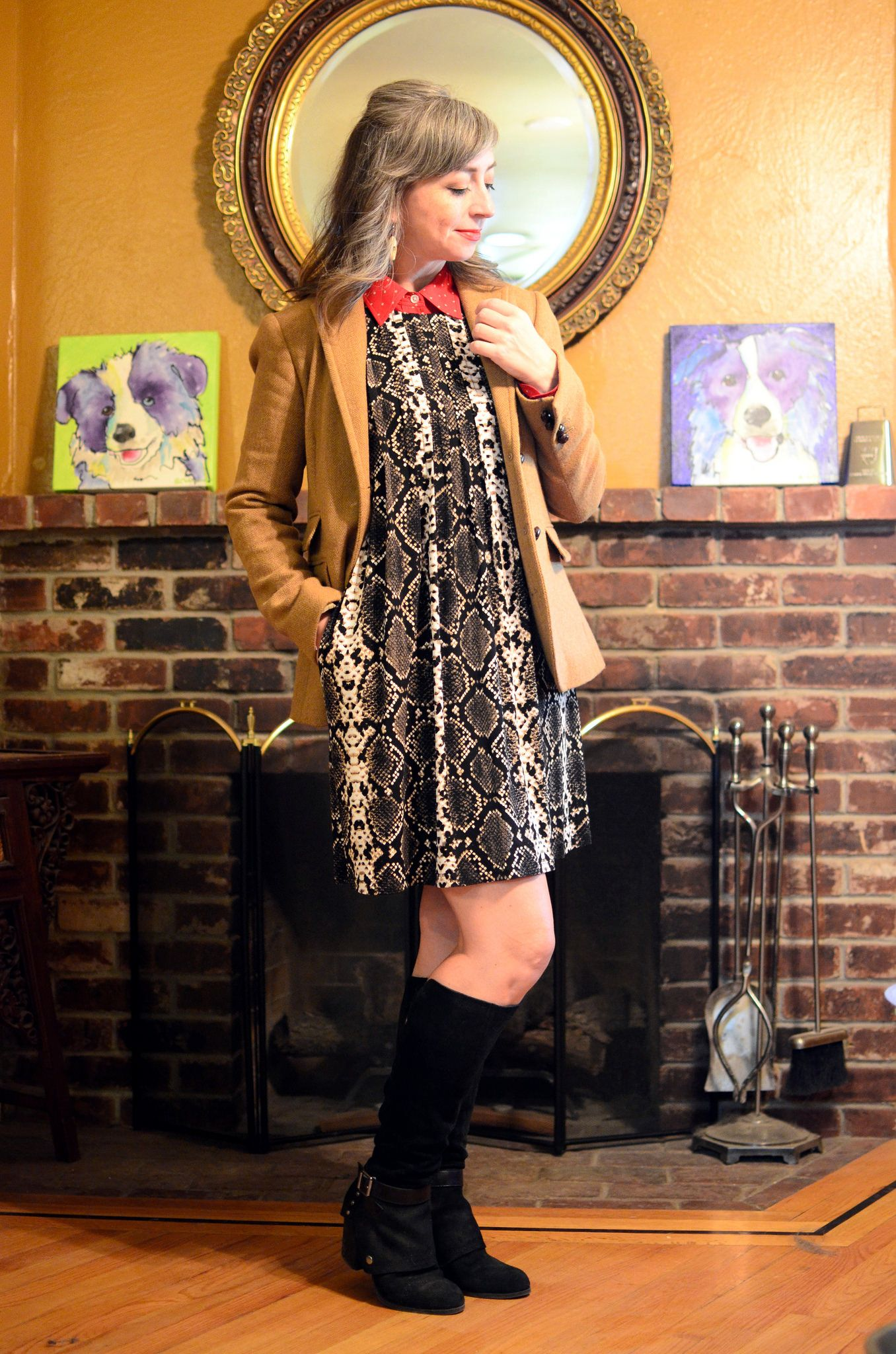 ace1914b9004c Blazer, J Crew (consignment). Dress, Calvin Klein (thrifted). Blouse,  Lauren Ralph Lauren (thrifted). Boots, Fergie. Earrings, Sweetwater Outpost.