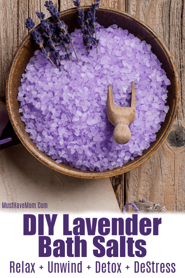 Lavender Bath Salts Diy Recipe For Homemade Gifts And Health Benefits Via Musthavemom Bath Salts Diy Recipes Lavender Bath Salts Diy Bath Salts Lavender