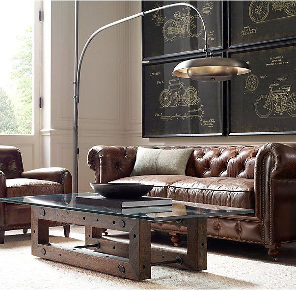 Vedel Industrial Loft Zinc Wood Rectangle Coffee Table: Reclaimed Brazilian Wood Coffee Table