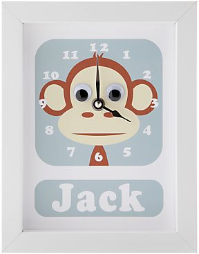 Stripey Cats Personalised Marley Monkey Framed Clock, 23 x 18cm