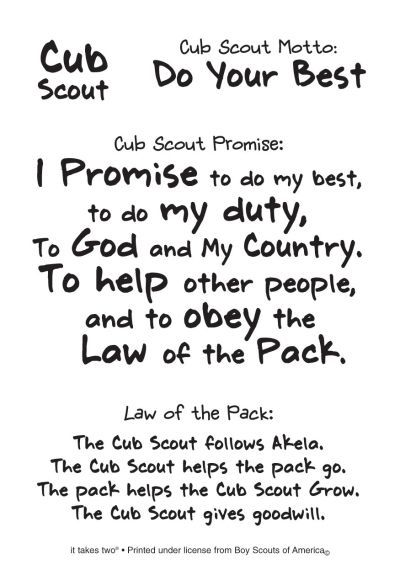 Cub Scout Coloring Pages Cub Scout Promise Motto And Law Of The