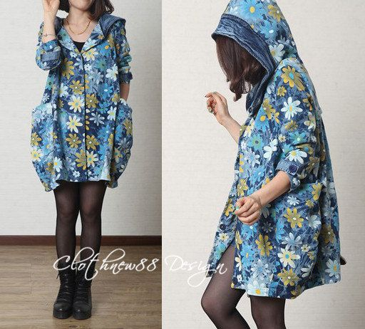 blue red Floral cotton Casual Long sleeved T-shirt Blouse Hooded cotton loose long coat / jacket pullover big pockets Coat(255)
