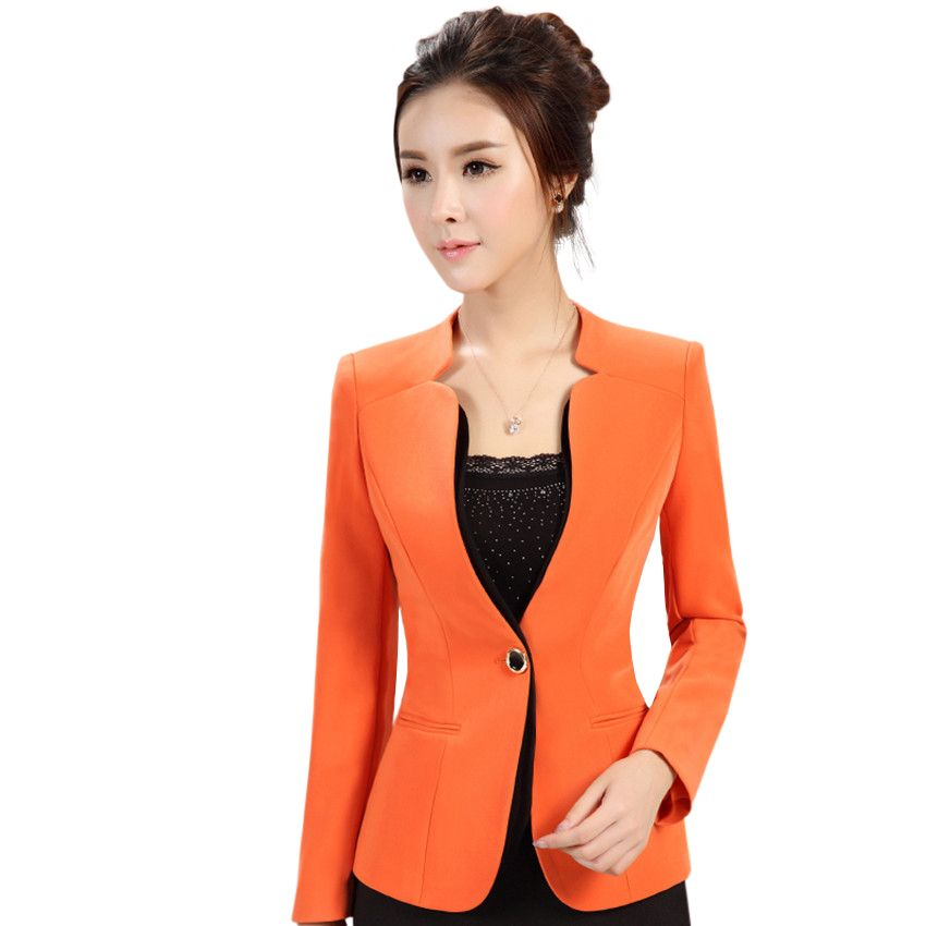 Us 32 9 2016 Autumn Winter Women Long Sleeve Blazer Plus Size Office Formal Female Suit Jacket Work Wear Slim Business Outerwear Female Suit Jacket Blazer Plu Suits For Women Long Sleeve Blazers Clothes