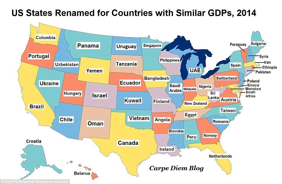 The map of America that shows how states have GDPs of major - new world map kuwait city