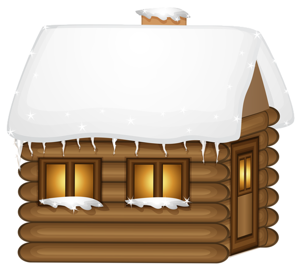Winter Wooden House PNG Clip Art Image