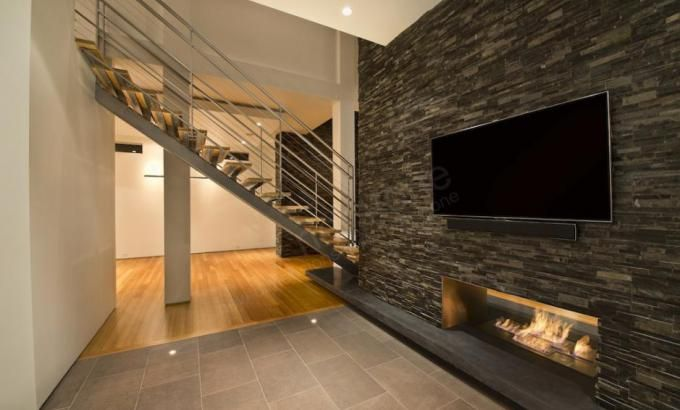 find this pin and more on basement ideas stacked stone veneer feature wall - Interior Stone Wall Designs