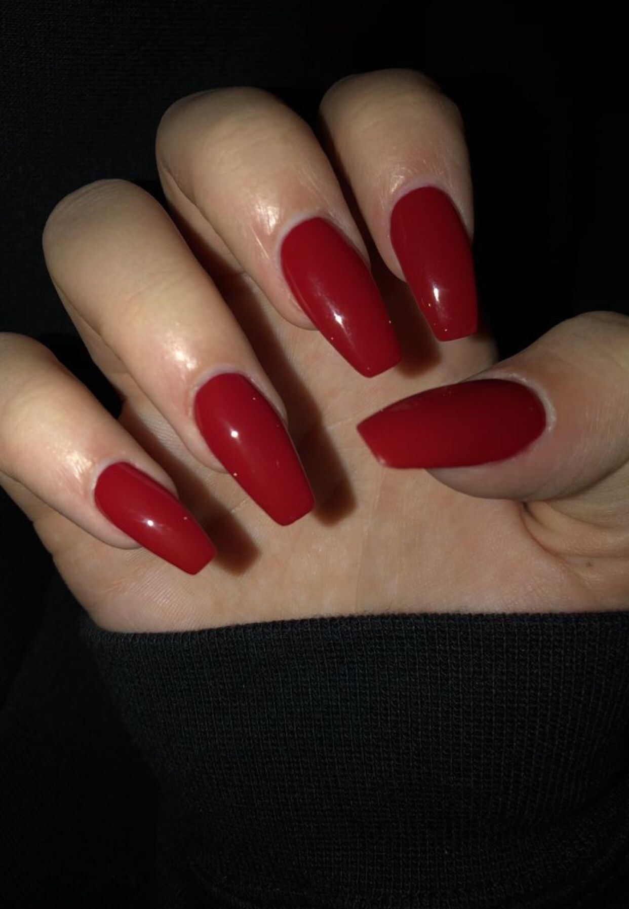 Vermelho Red Acrylic Nails Fake Nails Nails