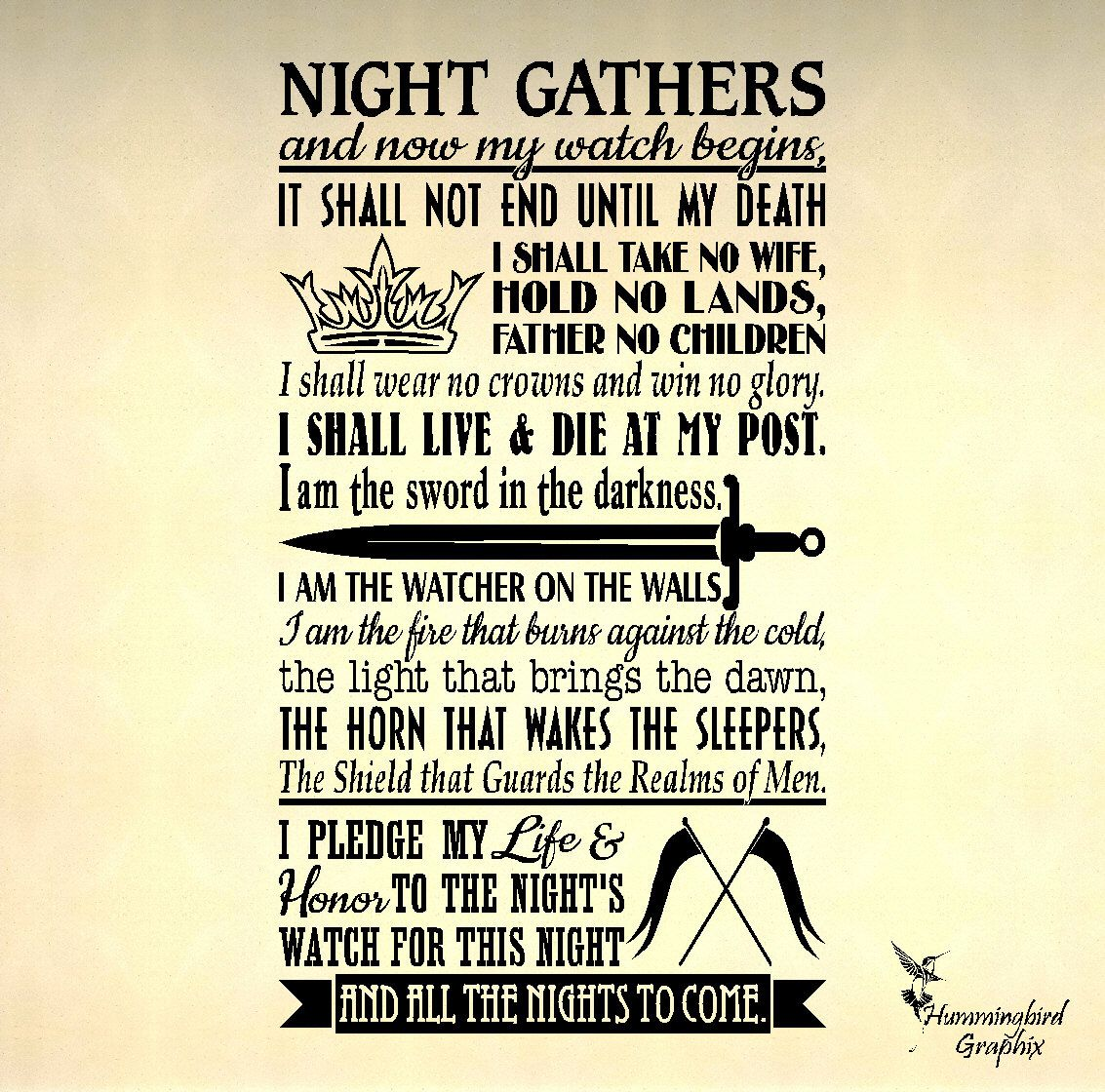 Game of Thrones, Night's Watch Oath Wall Decal, Vinyl