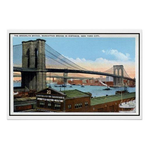 Vintage New York City Brooklyn Bridge, Manhattan Bridge posters (in all sizes) and postcards