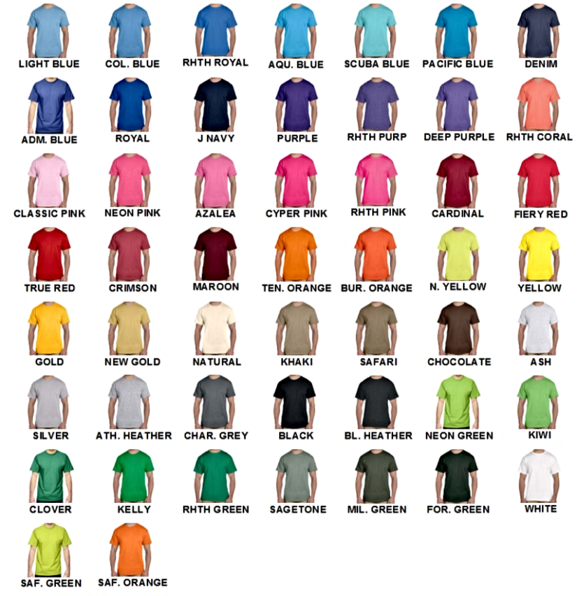 Fruit Of The Loom T Shirt Color Chart