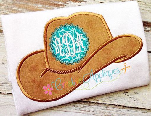 Monogram cowgirl hat applique sewing cowgirl hats