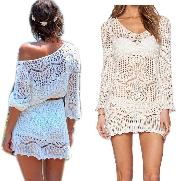 052f42dc21 Best Summer Plus Size Crochet Swimwear Beach Cover Up Women White Lace  Beach Dress Beachwear Hollow Bikini Swimsuit Cover Up Femme Order≪$18no Tr  Under ...