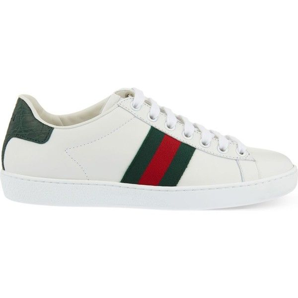 GUCCI New Ace leather and crocodile trainers (7.110 ARS) ❤ liked on Polyvore featuring shoes, sneakers, white, leather lace up sneakers, crocodile shoes, lace up sneakers, gucci shoes and leather sneakers