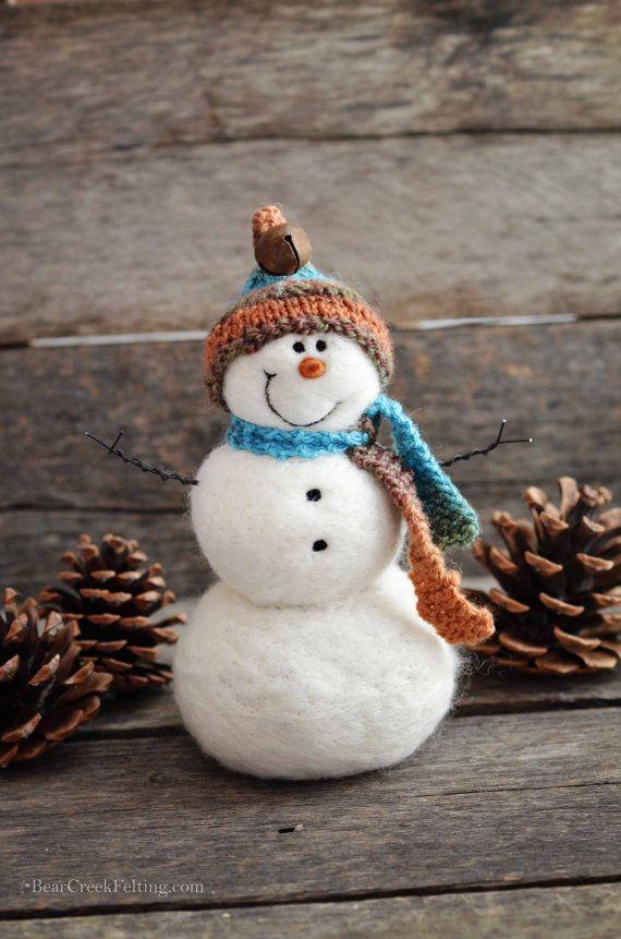 Needle Felted Snowman Ornament