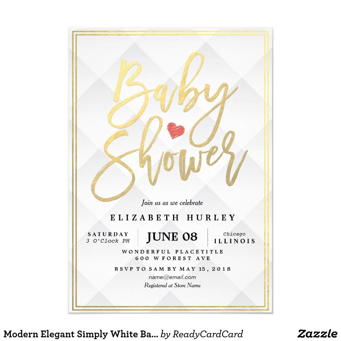 Modern Elegant Simply White Baby Shower Invitation Baby Shower ...