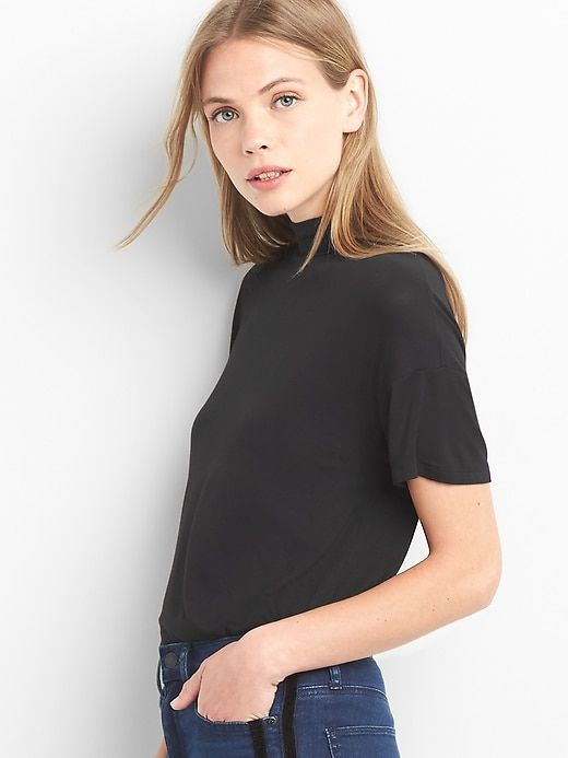 6c0a99e227a4 Gap Womens Short Sleeve Mockneck Tee True Black | Products | T ...