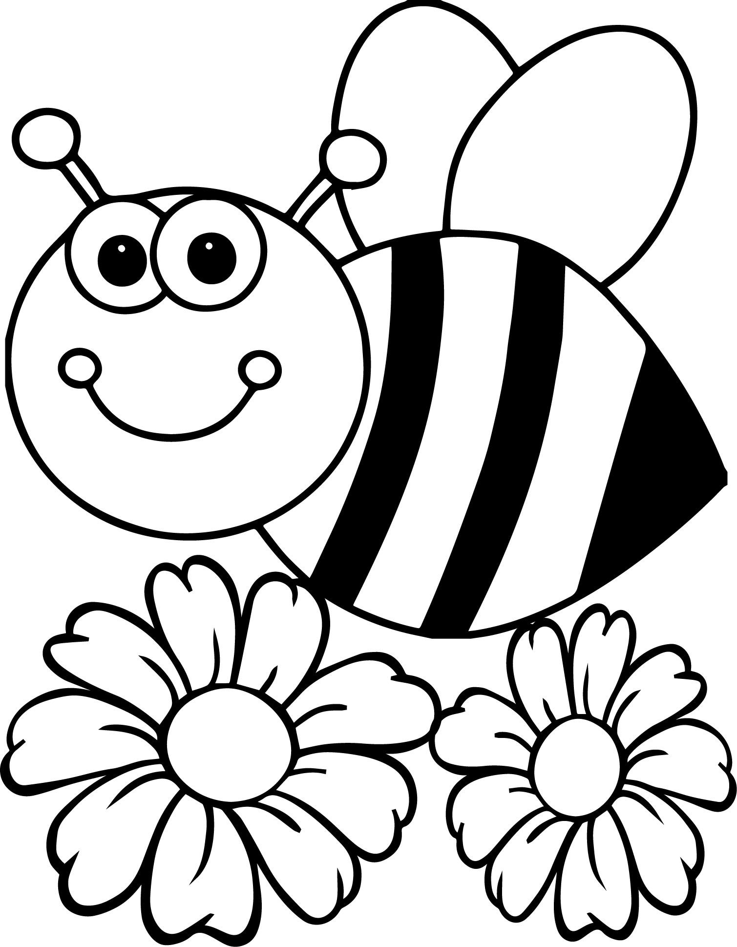 Cool Bee Flower Coloring Page
