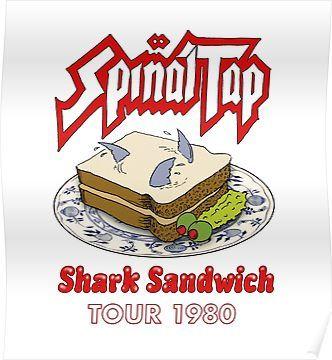"""Locker Magnet. Spinal Tap Shark Sandwich Tour 1980-2/"""" X 3/"""" Fridge"""