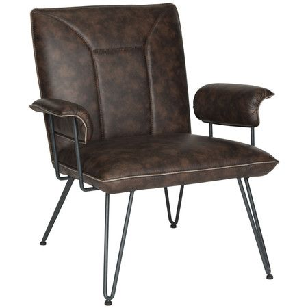 Featuring classically mid-century hairpin legs, faux leather upholstery, and a welted seat, the Arnaz Arm Chair brings a refined retro vibe to a living ro...