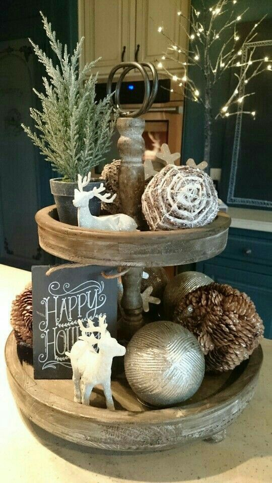 Tiered Tray Christmas Arrangement Christmas Decorations Rustic Christmas Decorations Indoor Christmas