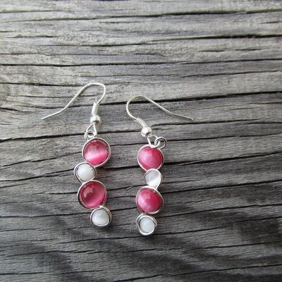 pink and white bubble earrings