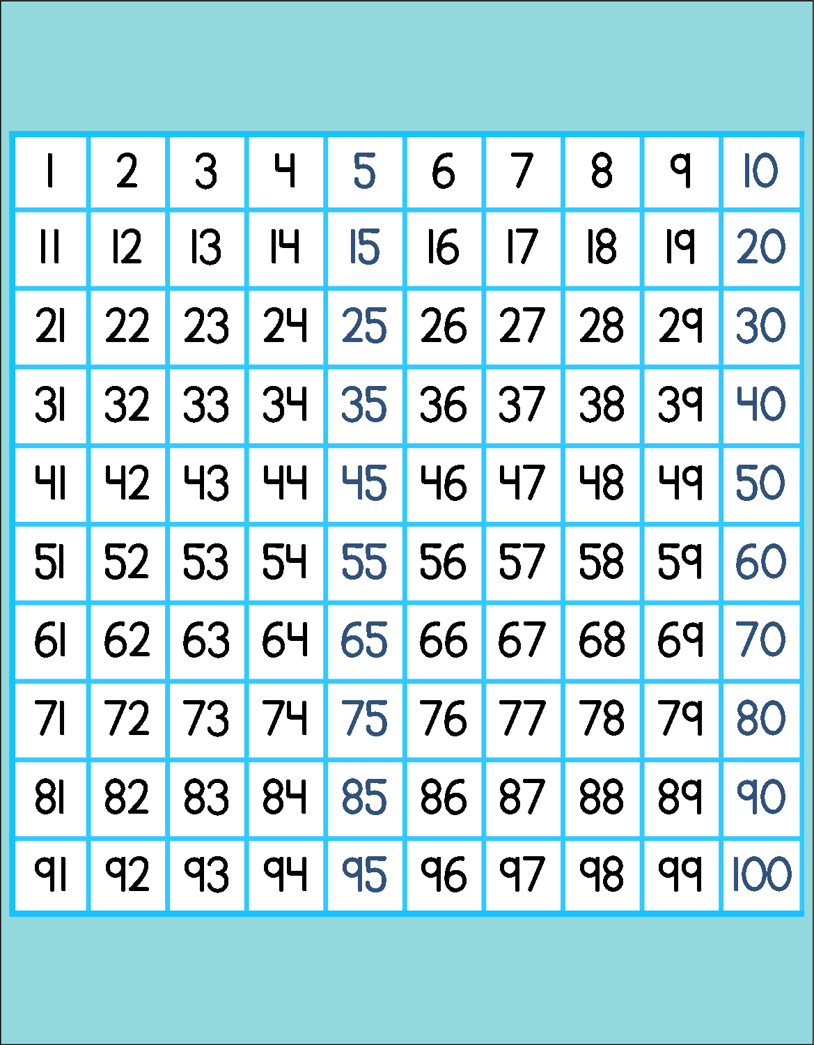 Free Printable Hundreds 100 Chart Great For Bulletin
