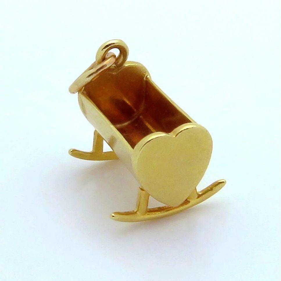 Snowmobile 10K Gold Vintage Charm For Bracelet