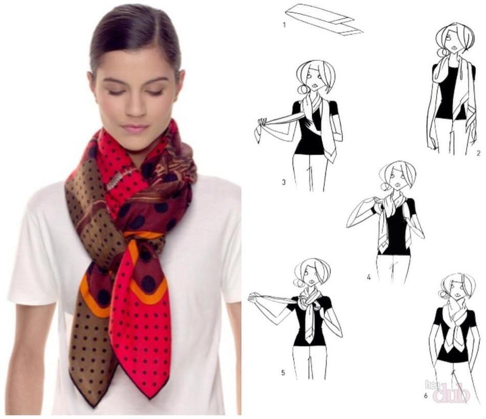 как завязать платок треугольником на шее