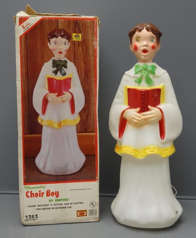 Vintage Blow Mold Christmas Carolers Christmas Lawn Decor: EMPIRE Choir BOY Caroler Christmas Blow Mold 1363 Lighted