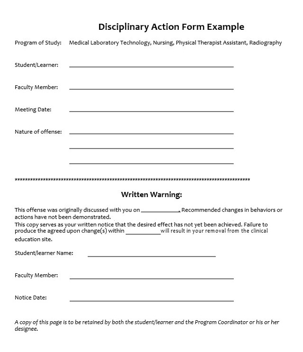 Disciplinary Action Form Example In 2020 Form Example Template Printable Something To Do