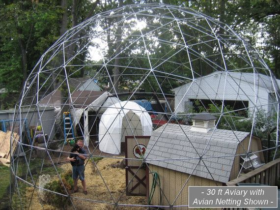 Photo of 28 ft Geodesic Dome Outdoor Aviary, Flight Cage, Animal Pen