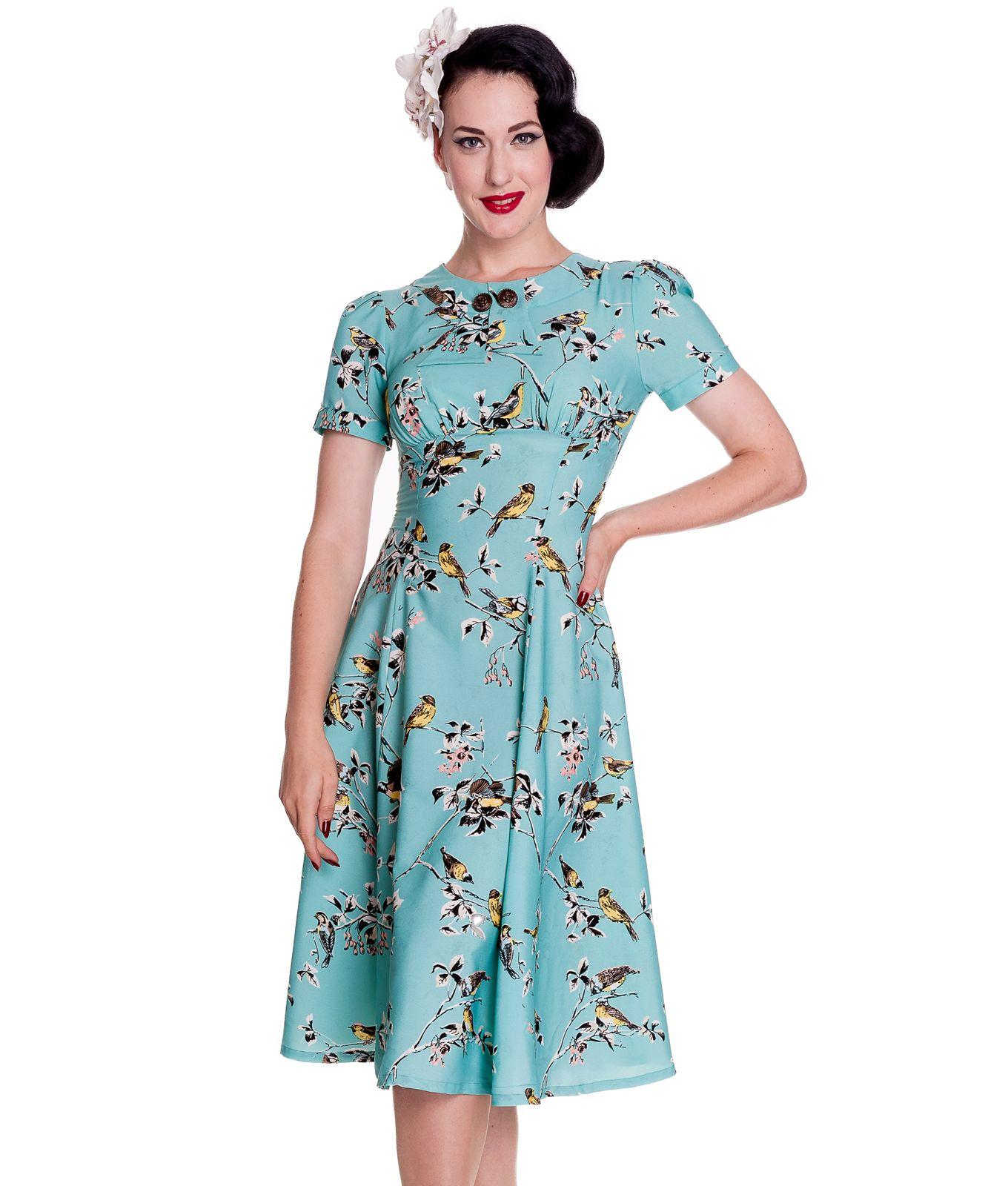 Beautiful ss style tea dress with pretty retro style print
