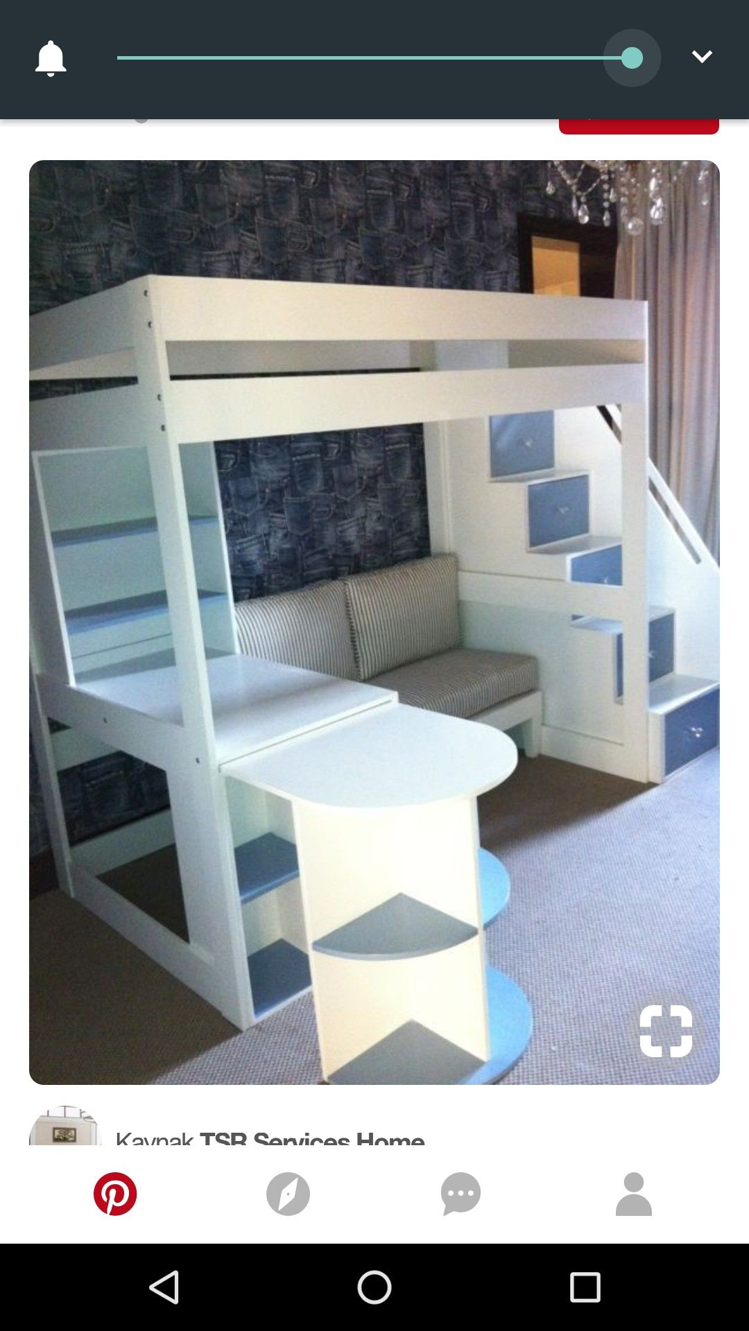 Loft bed with stairs and desk  Pin by Fatma Oymak on tasarım  Pinterest  Bedrooms Condo design