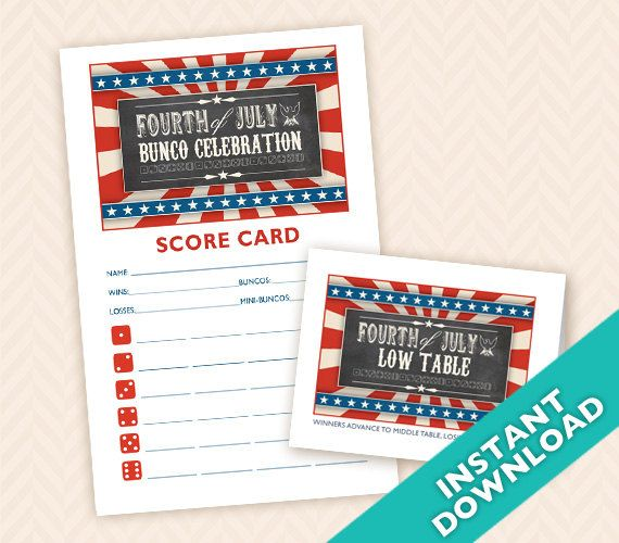 Downloadable Fourth of July Printable Bunco Score and Table Card - bunco score sheets template