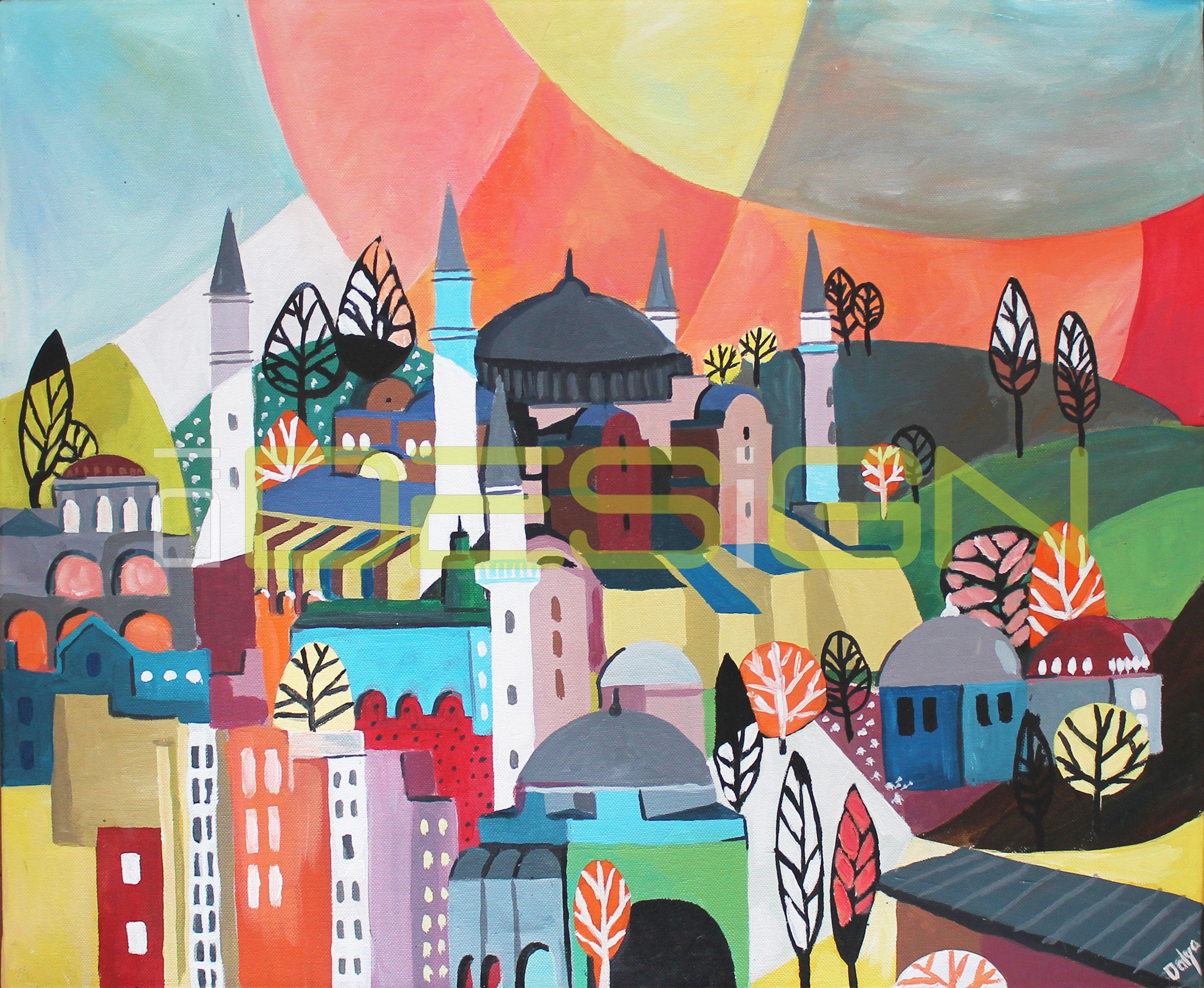 "Title: "" Istanbul"" Size : 20"" x 24"" Media: Acrylic on canvas"
