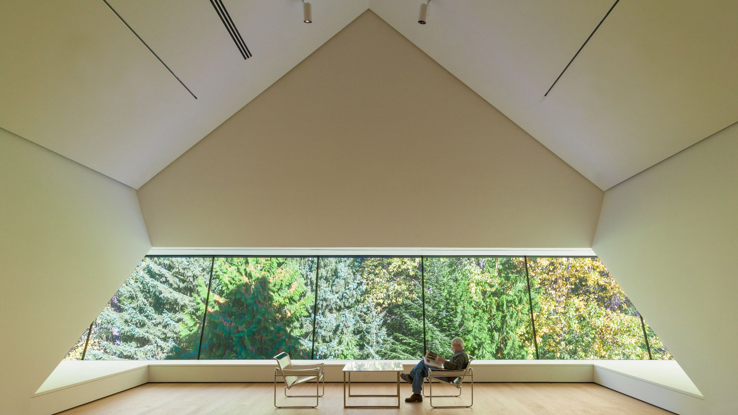 Pitched roofs and wooden slats characterise audain art museum